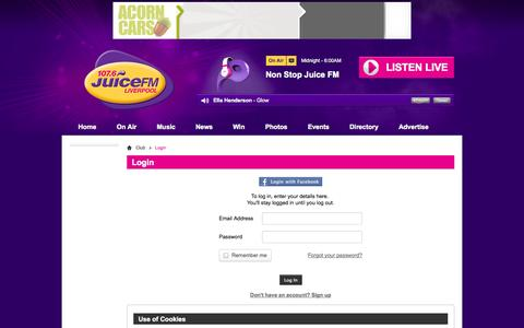 Screenshot of Login Page juicefm.com - Login | Club - 107.6 Juice FM - captured Sept. 19, 2014