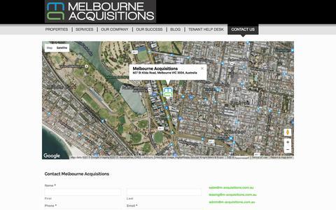 Screenshot of Contact Page melbourneacquisitions.com.au - Contact us  - Melbourne Acquisitions - captured Dec. 17, 2015