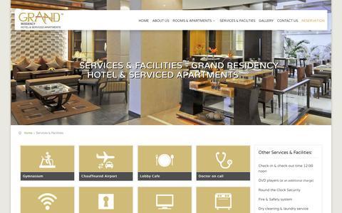 Screenshot of Services Page grandresidency.com - Services & Facilities - Grand Residency Hotel Bandra Mumbai - captured Feb. 1, 2016