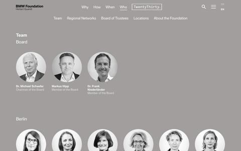 Screenshot of Contact Page Team Page Locations Page bmw-foundation.org - Who — BMW Foundation Herbert Quandt - captured July 10, 2018