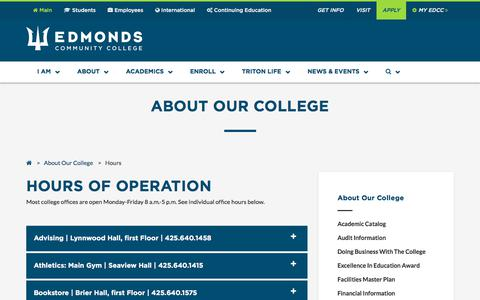 Screenshot of Hours Page edcc.edu - Edmonds Community College: About Our College - Hours of Operation - captured Sept. 23, 2018