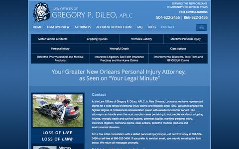 Screenshot of Contact Page gregdileo.com - Contact | Law Offices of Gregory P. DiLeo, APLC | New Orleans, Louisiana - captured Oct. 2, 2014