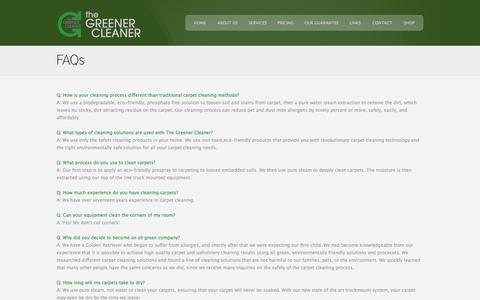 Screenshot of FAQ Page greenercleanermichigan.com - FAQs | The Greener Cleaner - captured Oct. 3, 2014