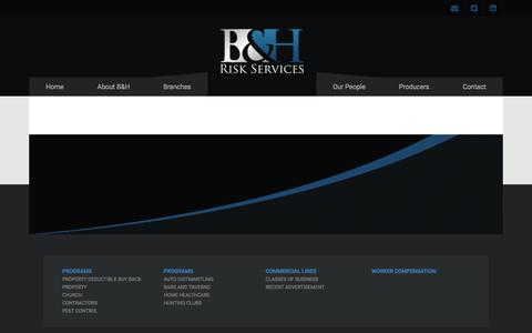 Screenshot of Products Page bhrisks.com - Products - BH Risk Services - captured Jan. 24, 2016