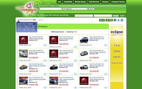 Screenshot of Products Page mynewmarketplace.com - My New Marketplace - Buy and Sell Almost Anything - captured Oct. 7, 2014