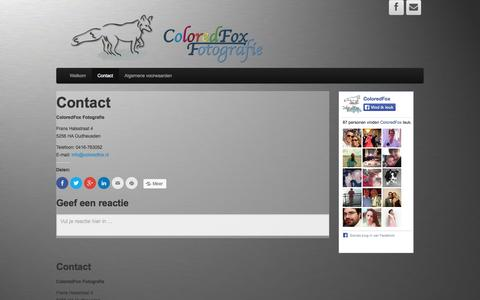 Screenshot of Contact Page coloredfox.nl - Contactgegevens van ColoredFox Fotografie - captured Sept. 30, 2014