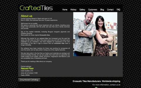 Screenshot of About Page crafted-tiles.com - Cuban tiles and Victorian tiles - captured Sept. 30, 2014