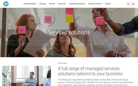 Screenshot of Services Page hp.com - Services solutions | HP® Official Site - captured Oct. 7, 2016
