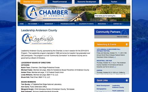 Screenshot of Team Page andersoncountychamber.org - Anderson County Chamber of Commerce  » Leadership Anderson County - captured Oct. 4, 2014