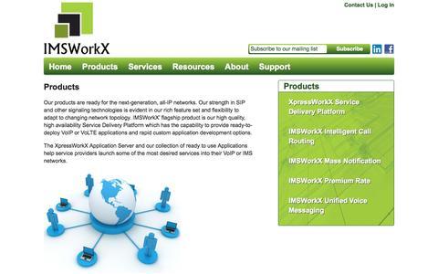 Screenshot of Products Page imsworkx.com - Products   IMSWorkX, Inc. - captured Oct. 3, 2014