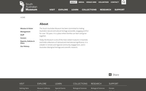 Screenshot of About Page samuseum.sa.gov.au - South Australian Museum - About - captured Oct. 6, 2014