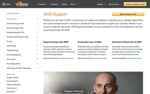 Screenshot of Support Page amazon.com - AWS Support - Plan, Deploy, and Optimize your Cloud Solutions - captured Sept. 8, 2017