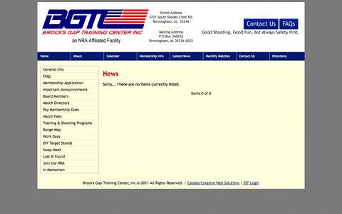 Screenshot of Press Page brocksgap.com - Brock's Gap Training Center, Hoover, Alabama - News - captured Oct. 5, 2014