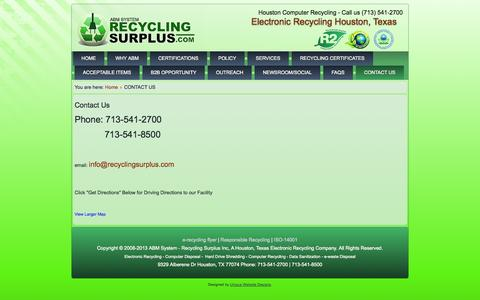Screenshot of Contact Page recyclingsurplus.com - Contact ABM System - (713) 541-2700 Electronic Recycling Houston - captured Oct. 27, 2014