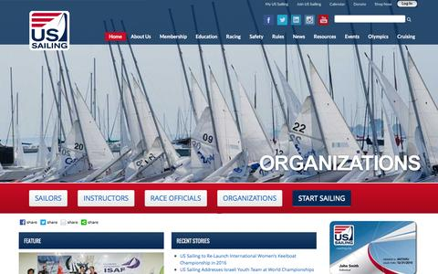 Screenshot of Home Page ussailing.org - United States Sailing Association | Home - captured Jan. 12, 2016