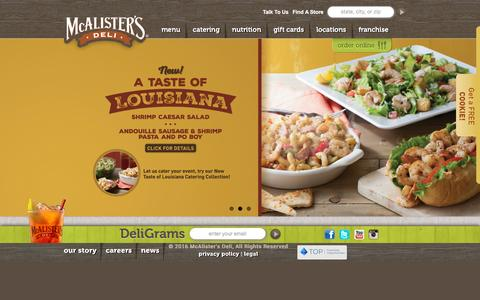 Screenshot of Home Page mcalistersdeli.com - McAlister's Deli - captured Jan. 9, 2016