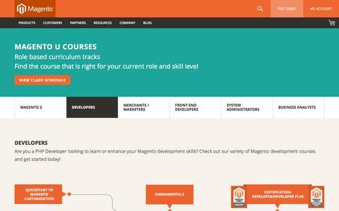 Screenshot of Developers Page magento.com - Magento Store Developer Training From Magento U   Magento - captured Nov. 21, 2015