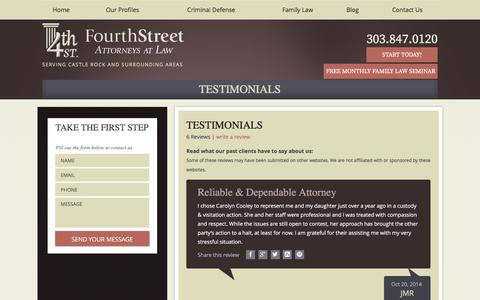 Screenshot of Testimonials Page fourthstreetlaw.com - Testimonials | Castle Rock Lawyers - captured Feb. 10, 2016