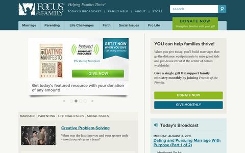 Screenshot of Home Page focusonthefamily.com - Focus on the Family: Helping Families Thrive - captured Aug. 3, 2015