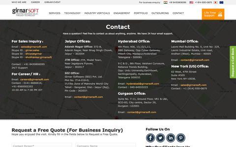 Screenshot of Contact Page girnarsoft.com - Girnarsoft | Contact - captured Nov. 23, 2015
