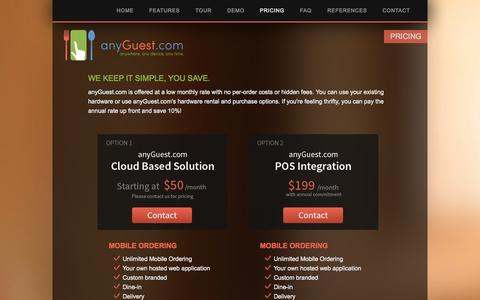 Screenshot of Pricing Page anyguest.com - anyGuest.com - Pricing - captured Oct. 4, 2014