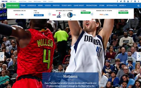 Screenshot of Home Page mavs.com - Home - Official Website of the Dallas Mavericks - captured Dec. 10, 2015