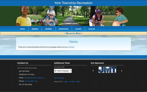 Screenshot of Press Page yorktownshiprec.com - York Township Recreation: News - captured Oct. 25, 2017