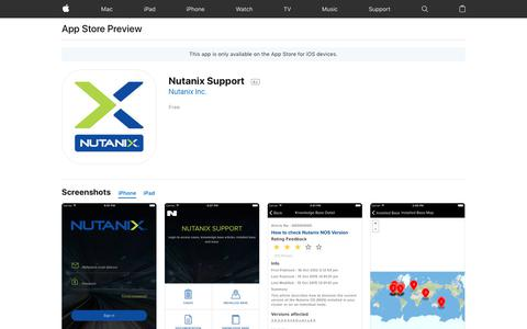 Nutanix Support on the AppStore