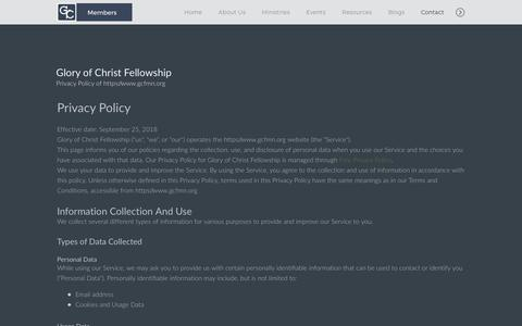 Screenshot of Privacy Page gcfmn.org - Glory of Christ Fellowship | Privacy Policy - captured Sept. 29, 2018