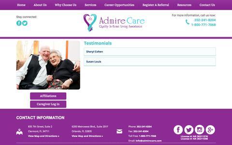 Screenshot of Testimonials Page admirecare.com - Admire Care - In-Home Care - Clermont and Orlando, Florida - Testimonials - captured Oct. 7, 2017