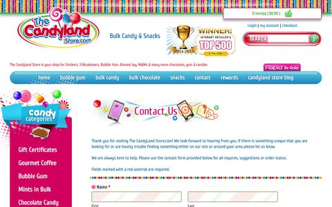 Screenshot of Contact Page thecandylandstore.com - Contact Us - captured Sept. 19, 2014