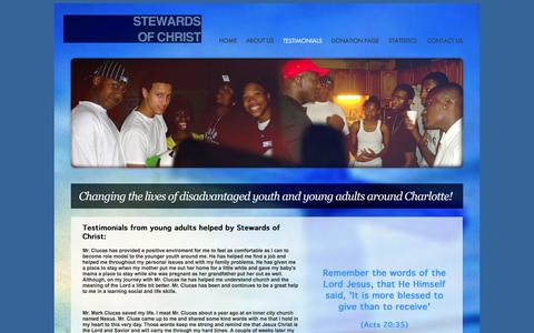 Screenshot of About Page Testimonials Page stewardsofchrist.org - Stewards of Christ - captured Oct. 26, 2014