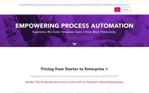 Screenshot of Pricing Page flowforma.com - No Code BPM Pricing - captured Oct. 10, 2018