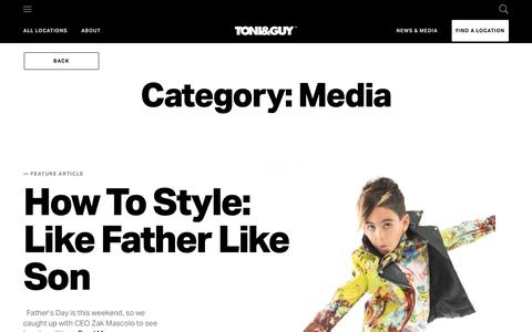Screenshot of Press Page toniguy.com - Media Archives - TONI&GUY - captured June 17, 2019