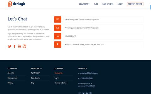 Screenshot of Contact Page 3tierlogic.com - Contact Us - 3 tier logic - captured Jan. 16, 2018