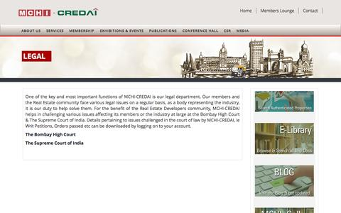Screenshot of Services Page Terms Page mchi.net - .:LEGAL   MCHI-CREDAI :. - captured Nov. 19, 2016