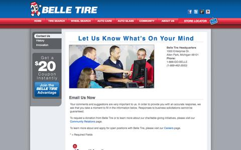 Screenshot of Contact Page belletire.com - Belle Tire | Contact Belle Tire | Belle Tire Email | Tire Retailers | Tire Companies - captured Sept. 25, 2014