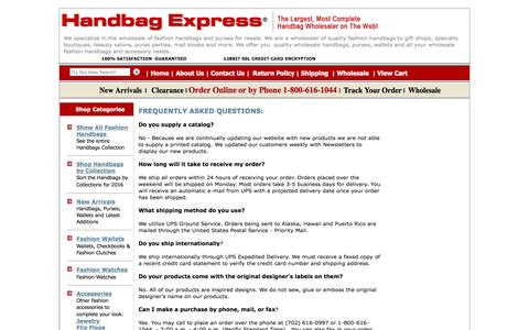 Screenshot of FAQ Page handbagexpress.com - Handbag Express ¨ - Wholesale handbags, wholesale designer handbags, wholesale fashion handbags - captured Jan. 17, 2016