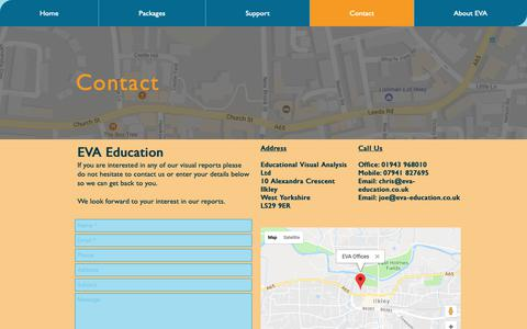 Screenshot of Contact Page eva-education.co.uk - eva-education | Contact - captured Sept. 27, 2018
