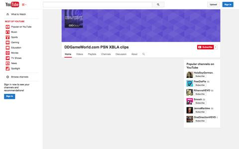 Screenshot of YouTube Page youtube.com - DDGameWorld.com PSN XBLA clips  - YouTube - captured Oct. 23, 2014
