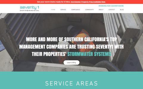 Screenshot of Home Page seventy1e.com - Seventy1 Environmental | Stormwater System Maintenance + Compliance - captured Jan. 28, 2016