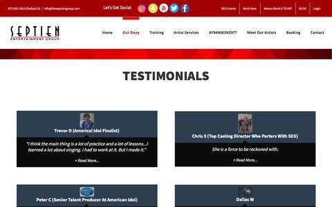 Screenshot of Testimonials Page theseptiengroup.com - Testimonials - Septien Entertainment Group - captured Nov. 29, 2016
