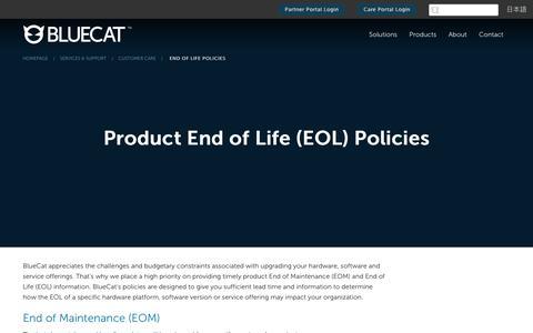 Screenshot of Support Page bluecatnetworks.com - End of Life Policies - BlueCat - captured Sept. 29, 2017
