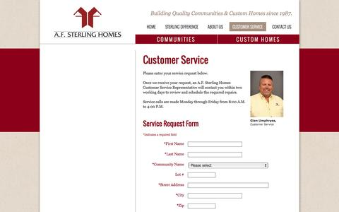Screenshot of Support Page afsterling.com - Customer Service | A.F. Sterling - captured Oct. 4, 2014