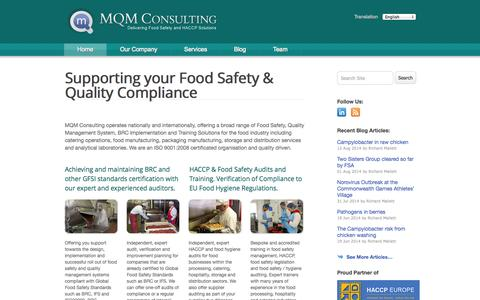 Screenshot of Home Page mqmconsulting.co.uk - MQM Consulting - Food Safety, HACCP, Health & Safety and Microbiology Consulting Services - captured Oct. 4, 2014