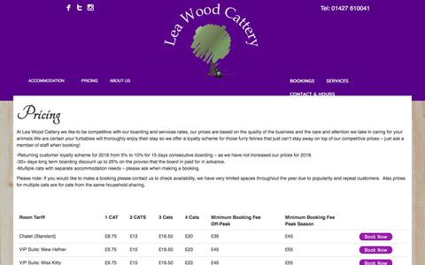 Screenshot of Pricing Page leawoodcattery.co.uk - Pricing - Leawood Cattery - captured July 17, 2018