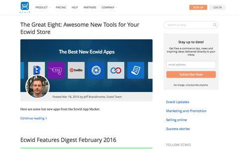 Screenshot of Blog ecwid.com - Blog | Ecwid: E-Commerce Widgets - captured March 19, 2016