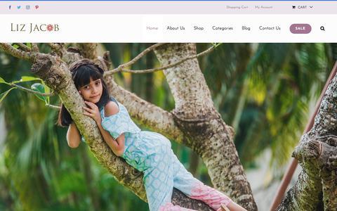 Screenshot of Home Page lizjacob.com - Home - Liz Jacob: Elegant Handcrafted Kids Wear - captured July 21, 2018