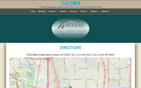 Screenshot of Maps & Directions Page hughescrownhill.com - Hughes Family Tribute Center | Dallas TX funeral home and cremation - captured Sept. 29, 2018