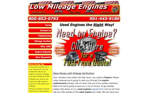 Screenshot of Home Page lowmileageengines.com - Low Mileage Engines - Used Engines the Right Way - captured Feb. 1, 2016